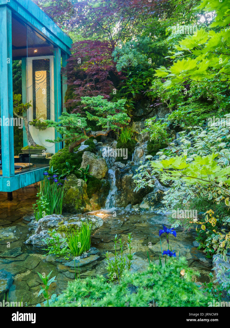 LONDON, UK - MAY 25, 2017: RHS Chelsea Flower Show 2017. Gosho No Niwa. No Wall, No War. Gold Medal winning Artisan Garden by Japanese master Kazuyki  - Stock Image