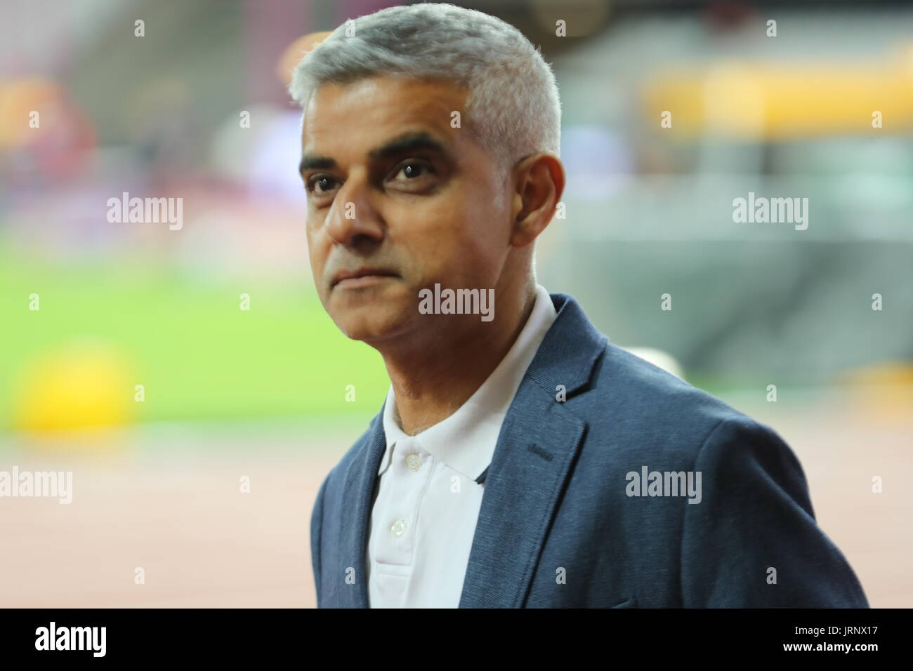London, UK, UK. 5th Aug, 2017. Mayor of London SADIQ Khan leaves at end of the second day of the IAAF World Championships in London. Credit: Scott Mc Kiernan/ZUMA Wire/Alamy Live News - Stock Image