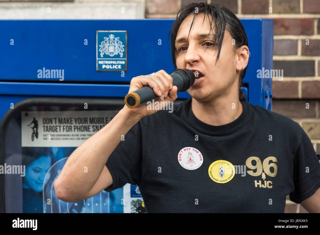 London, UK. 4th Aug, 2017. London, UK. 4th August 2017. Becky Shah from the Hillsborough Justice Campaign speaks at the rally at Tottenham Police Station remembering the death of Mark Duggan on the sixth anniversary of his killing by police, and also the police killing of other members of the Tottenham community - Cynthia Jarrett, Joy Gardner, Roger Sylvester, Mark Duggan and Jermaine Baker and the recent murders of Rashan Charles, Darren Cumberbatch and Edson Da Costa. Led by Stafford Scott, there was poetry, a minute of silence and speeches from family members as well as local activists, - Stock Image