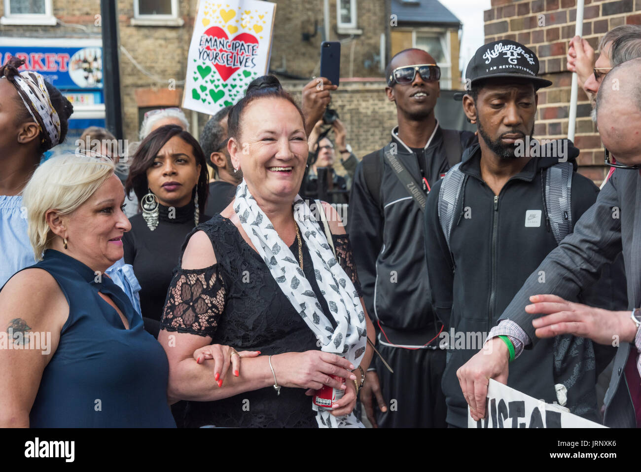 London, UK. 4th Aug, 2017. London, UK. 4th August 2017. Mark Duggan's mother Pamela Duggan (centre) with family and friends at the rally at Tottenham Police Station remembering the death of Mark Duggan on the sixth anniversary of his killing by police, and also the police killing of other members of the Tottenham community - Cynthia Jarrett, Joy Gardner, Roger Sylvester, Mark Duggan and Jermaine Baker and the recent murders of Rashan Charles, Darren Cumberbatch and Edson Da Costa. Led by Stafford Scott, there was poetry, a minute of silence and speeches from family members as well as local - Stock Image