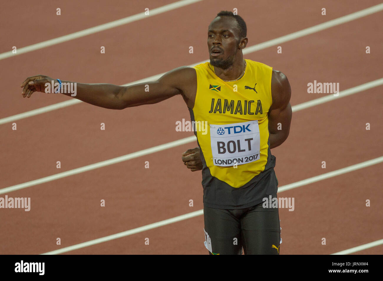London, UK. 5th August, 2017. King Usain Bolt in the 6th 100m series at the IAAF World Championships in 2017, Queen Elizabeth Olympic Park, Stratford, London, UK Credit: Laurent Lairys/Agence Locevaphotos/Alamy Live News Stock Photo