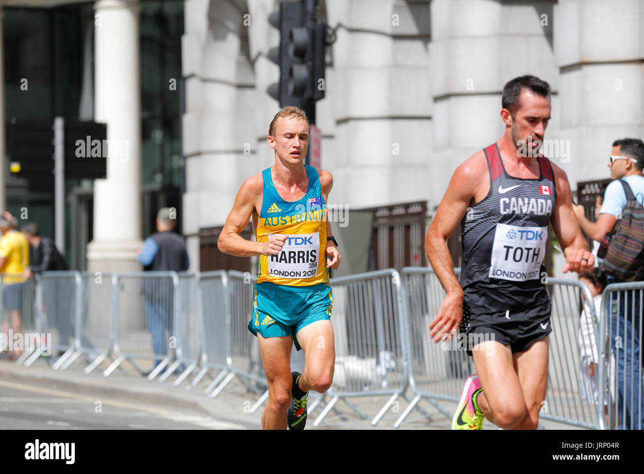 Stratford, London, UK. 6th August, 2017. World Athletics Championship   IAAF World Championship Marathon Sunday August. Runners from all over the world are taking place in IAAF marathon in London. England once again being in the center of world class sporting event. Europe, England, London Stratford Olympic village sporting event 2017. Mo Farah last race. Mens marathon IAAF 2017 London August 6th. Stock Photo