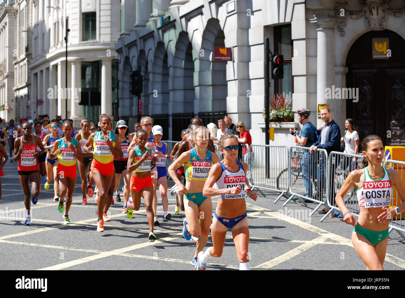 August 6th 2017 World Athletics Championship in London. IAAF women marathon 06/08/2017 started at 2pm local time. UK weather is perfect for a marathon with sun and few white clouds. Women running marathon are cometeing for a world champion title 2017. IAAF 2017 women marathon world champion and gold medal. Winner will be announced very soon. - Stock Image