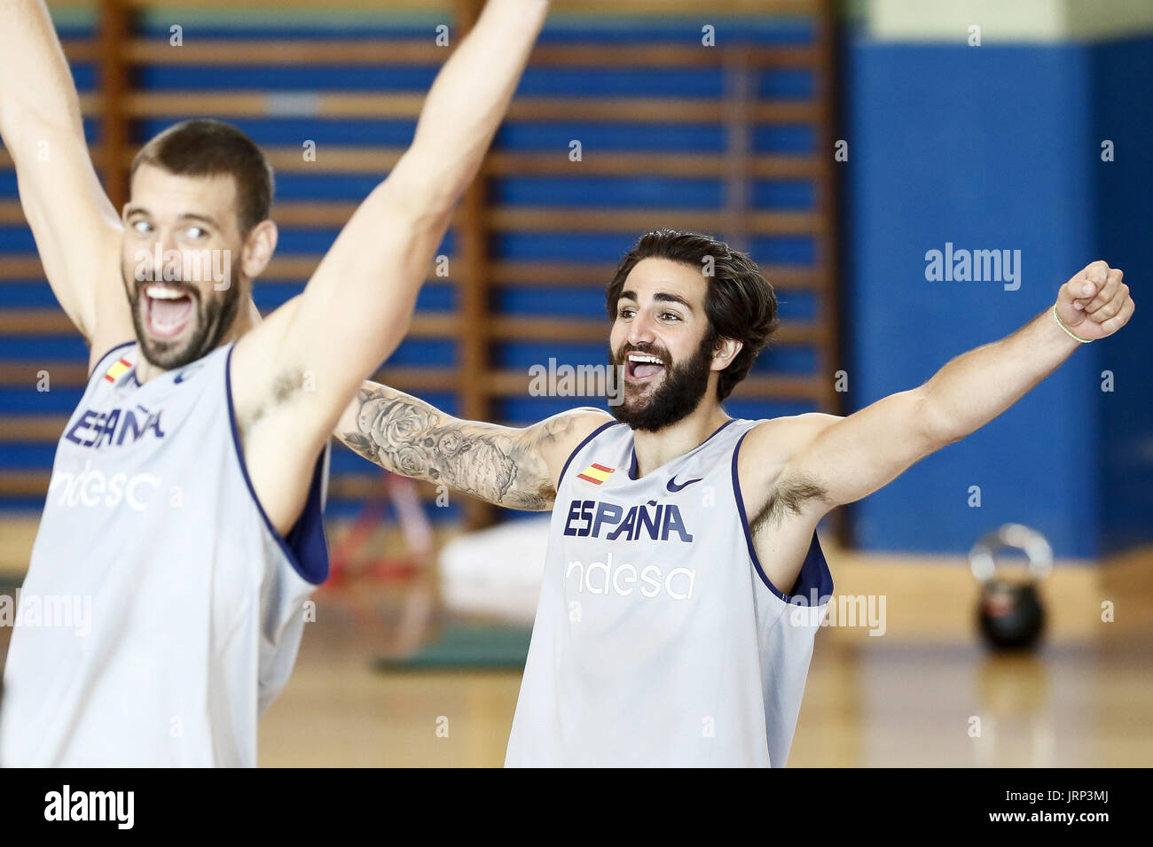 4a8dfa6c01f Spanish players Marc Gasol (L) and Ricky Rubio take part in a Spanish  national basketball team's training session in Madrid, Spain, 06 August  2017.