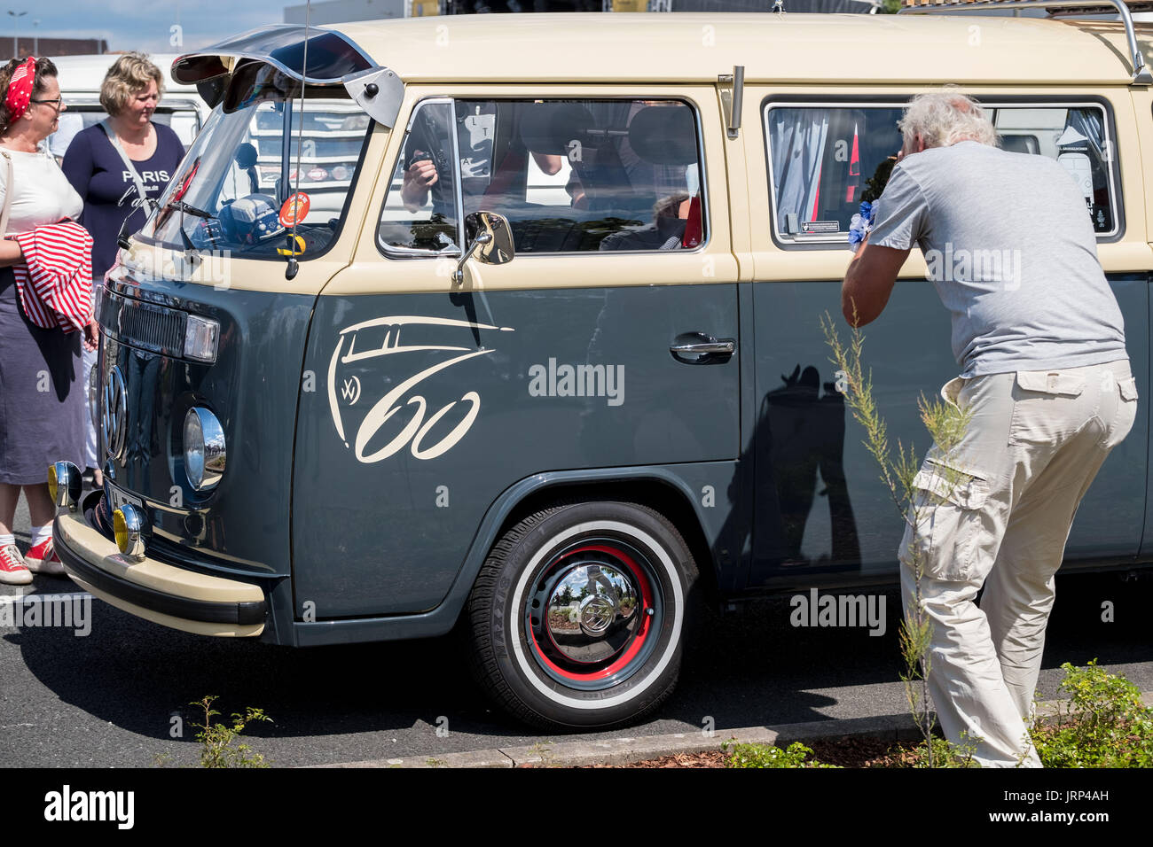 Stocken, Germany. 06th Aug, 2017. An old VW Kombi pictured in the grounds of the Volkswagen Commercial Vehicles Plant during the Kombi Meet on the occasion of the 70th anniversary of the Volkswagen Transporter in Stocken, Germany, 06 August 2017. Photo: Peter Steffen/dpa/Alamy Live News - Stock Image