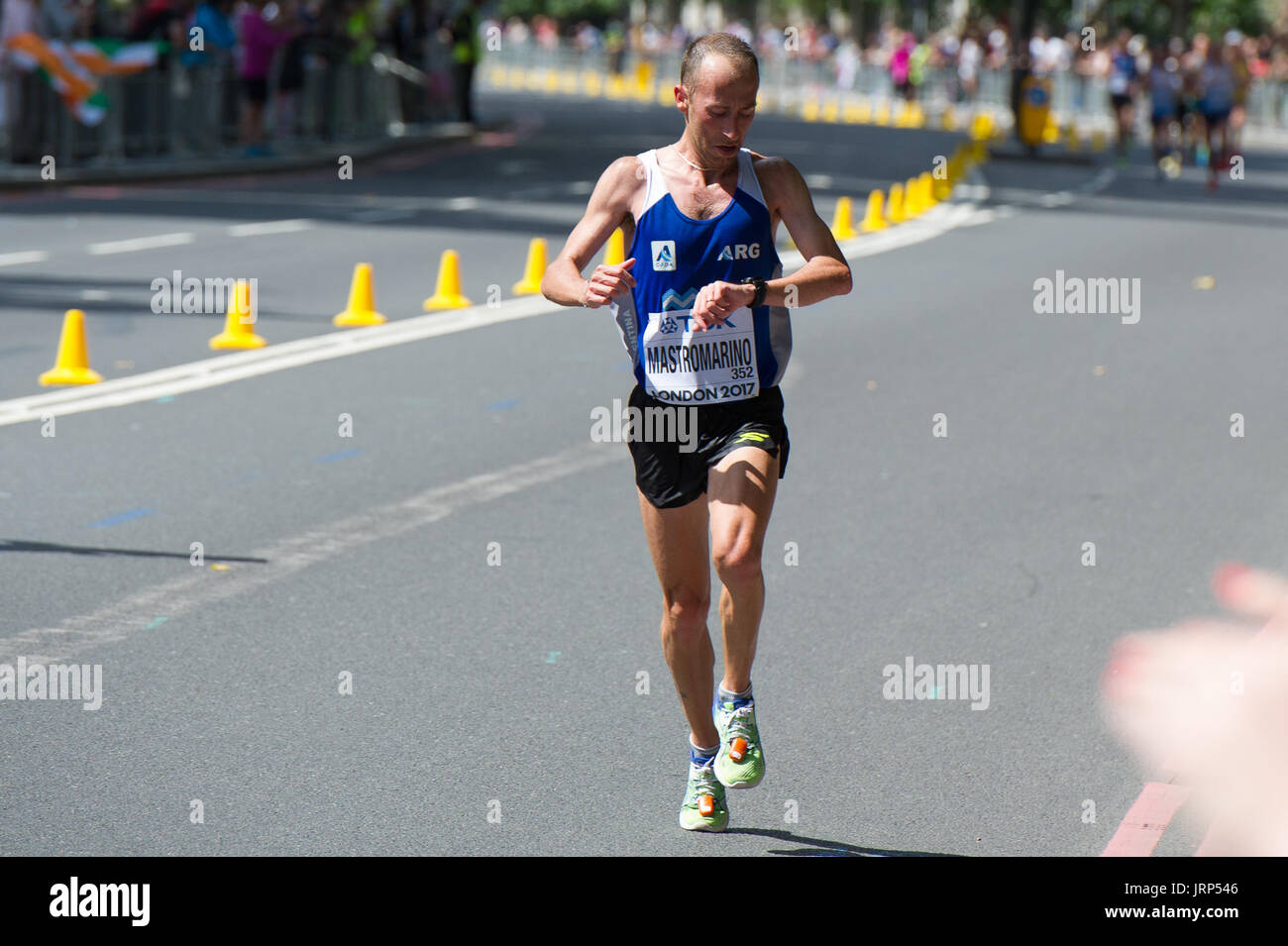 London, UK. 6th August, 2017. Mariano Mastromarino (Argentina) at the IAAF World Athletics Championships Men's Marathon Race Credit: Phil Swallow Photography/Alamy Live News - Stock Image