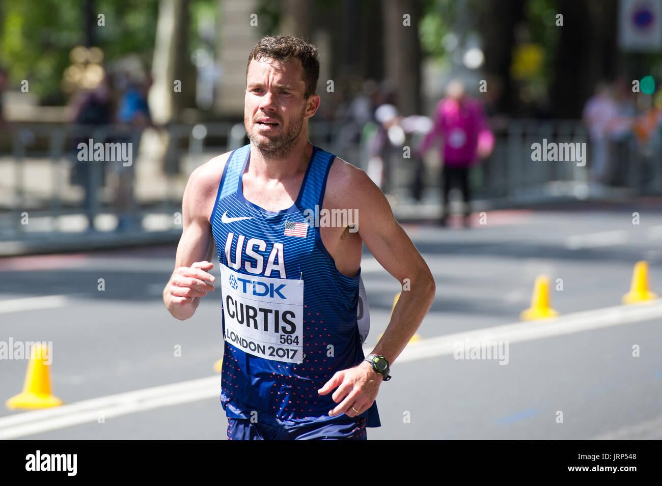 London, UK. 6th August, 2017. Robert Curtis (USA) at the IAAF World Athletics Championships Men's Marathon Race Credit: Phil Swallow Photography/Alamy Live News - Stock Image