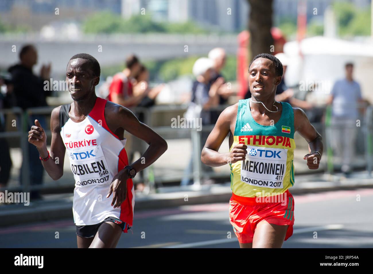 London, UK. 6th August, 2017. Kaan Kigen Ozbilen (Turkey) and Tsegaye Mekonnen (Ethiopia) at the IAAF World Athletics Championships Men's Marathon Race Credit: Phil Swallow Photography/Alamy Live News - Stock Image