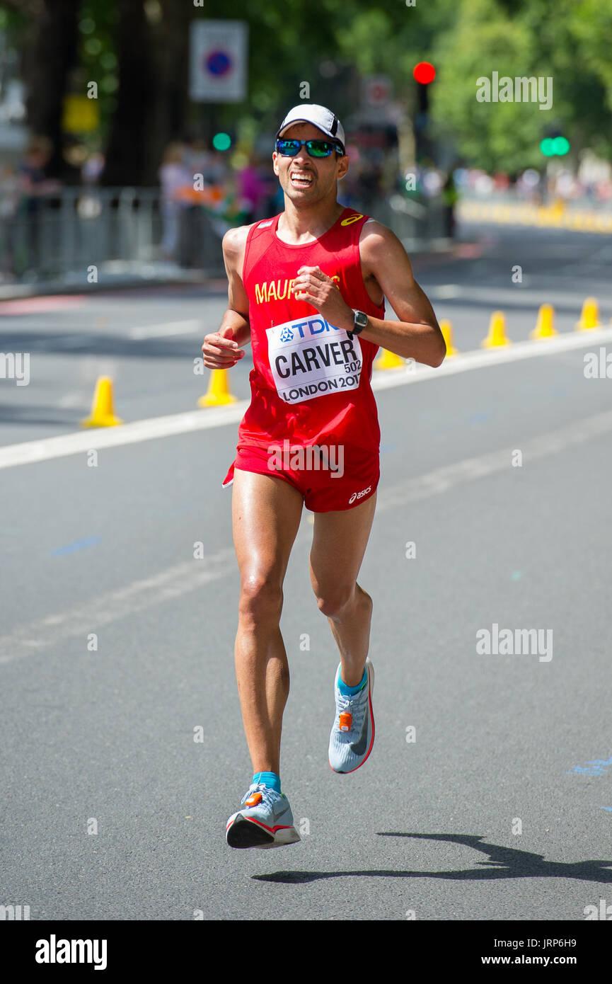 London, UK. 6th August, 2017. David Carver (Mauritius) at the IAAF World Athletics Championships Men's Marathon Race Credit: Phil Swallow Photography/Alamy Live News - Stock Image