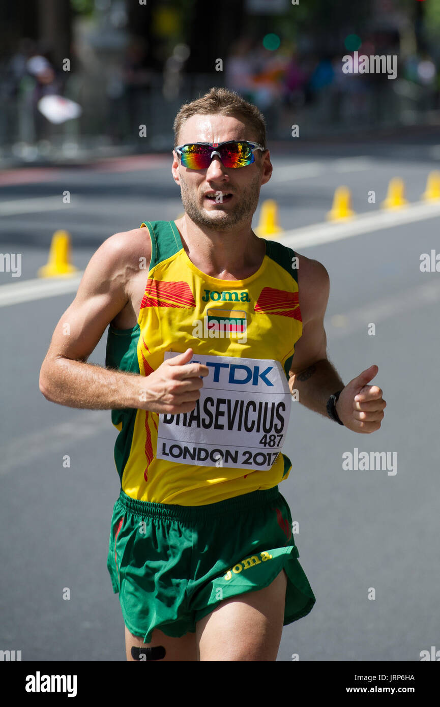 London, UK. 6th August, 2017. Ignas Brasevicius (Lithuania) at the IAAF World Athletics Championships Men's Marathon Race Credit: Phil Swallow Photography/Alamy Live News - Stock Image