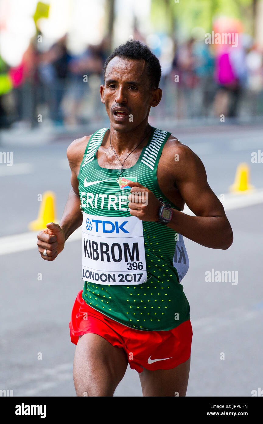 London, UK. 6th August, 2017. Ghebrezgiabhier Kibrom (Eritrea) at the IAAF World Athletics Championships Men's Marathon Race Credit: Phil Swallow Photography/Alamy Live News - Stock Image