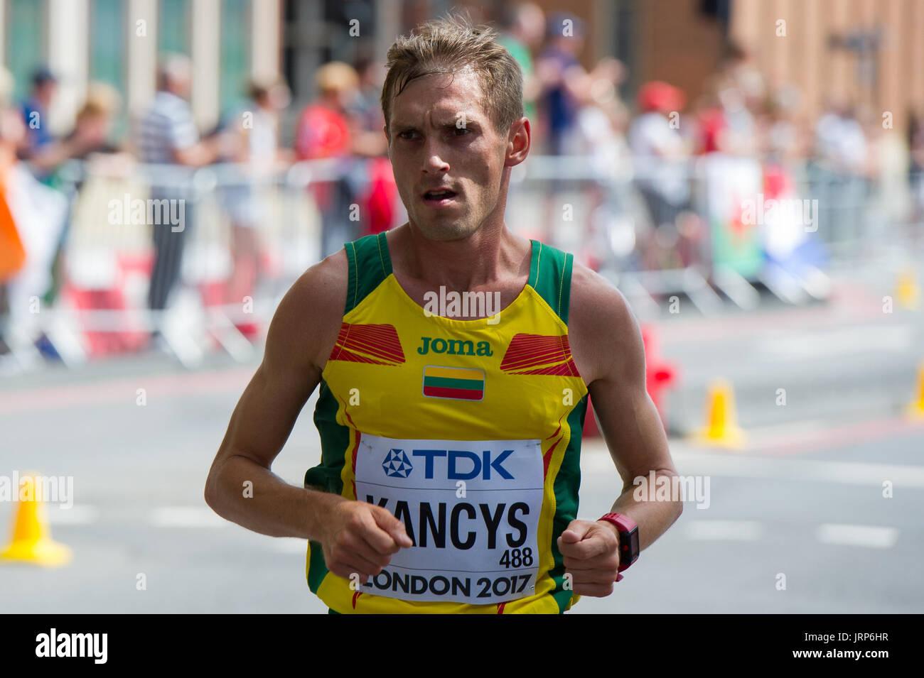 London, UK. 6th August, 2017. Remigijus Klancys (Lithuania) at the IAAF World Athletics Championships Men's Marathon Race Credit: Phil Swallow Photography/Alamy Live News - Stock Image
