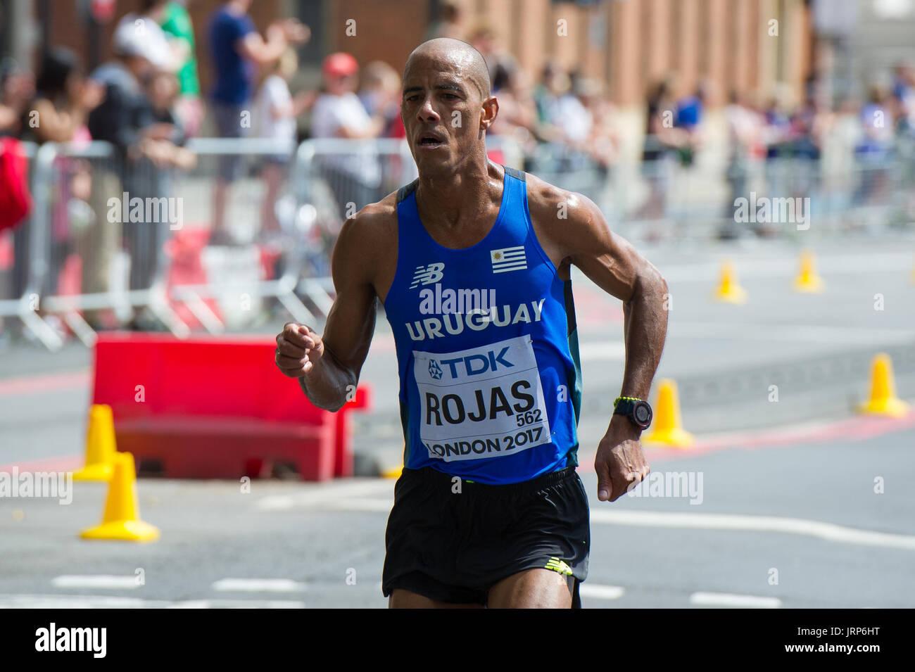 London, UK. 6th August, 2017. Aguelmis Rojas (Uruguay) at the IAAF World Athletics Championships Men's Marathon Race Credit: Phil Swallow Photography/Alamy Live News - Stock Image