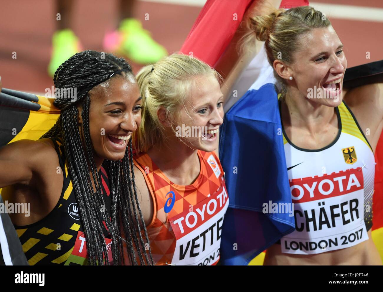 London, UK. 06th Aug, 2017. (l to r) Nafissatou Thiam (BEL, winner), Anouk Vetter (NED, 3rd) and Carolin Schafer Stock Photo