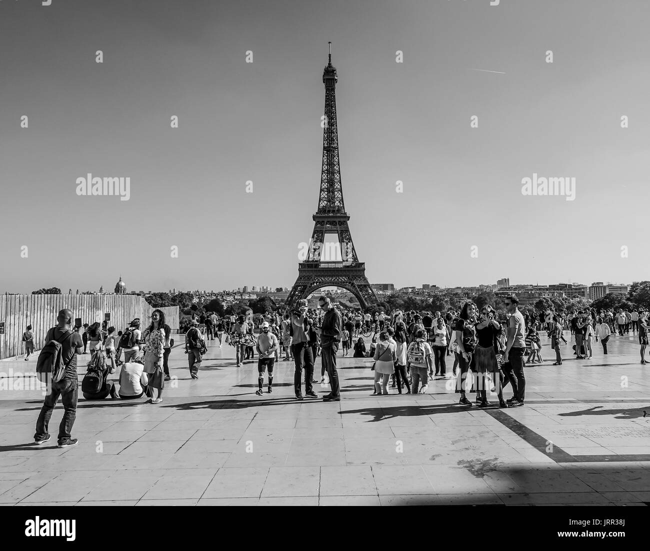 Paris Trocadero square with a view to Eiffel Tower - PARIS / FRANCE - SEPTEMBER 24, 2017 Stock Photo