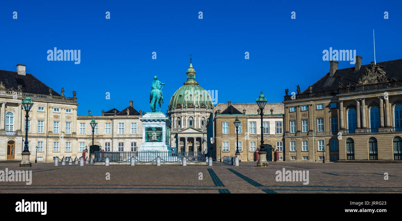 Amalienborg, the home of the Danish royal family, Copenhagen, Denmark - Stock Image