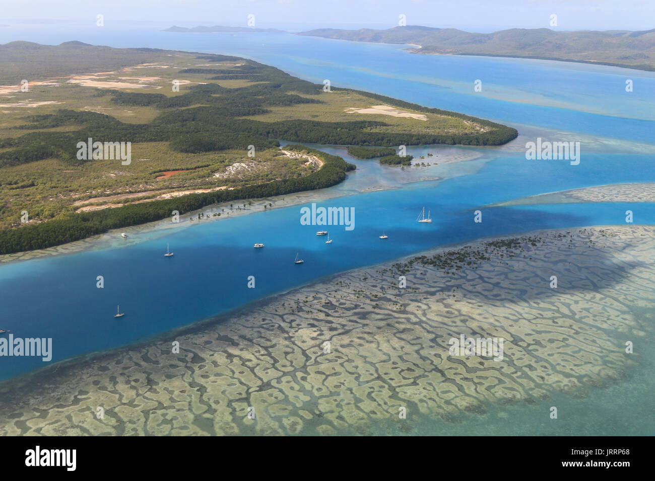Aerial view of channel between Horn Island and Thursday Island, Torres Strait - Stock Image