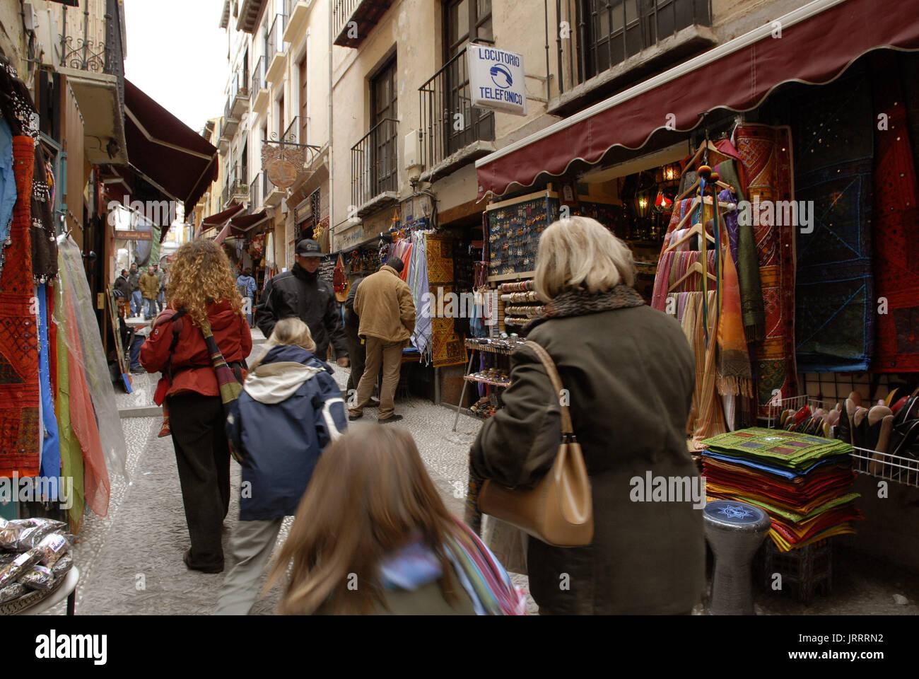 Tourists at the The Albaycin neighborhood, The Moorish quarter in