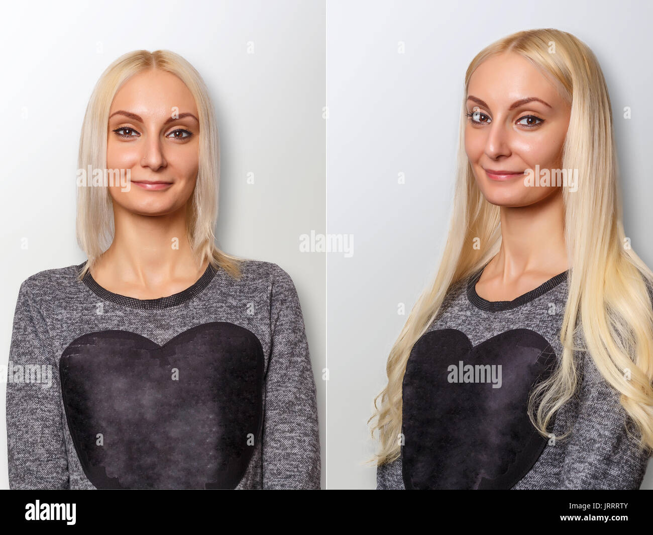 Hair Extensions Procedure Hair Before And After Stock Photo