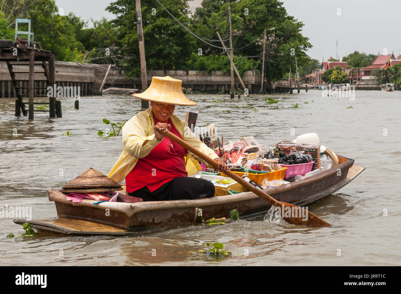 Waterborne souvenir vendor on the Khlongs in Thonburi, Bangkok, Thailand - Stock Image