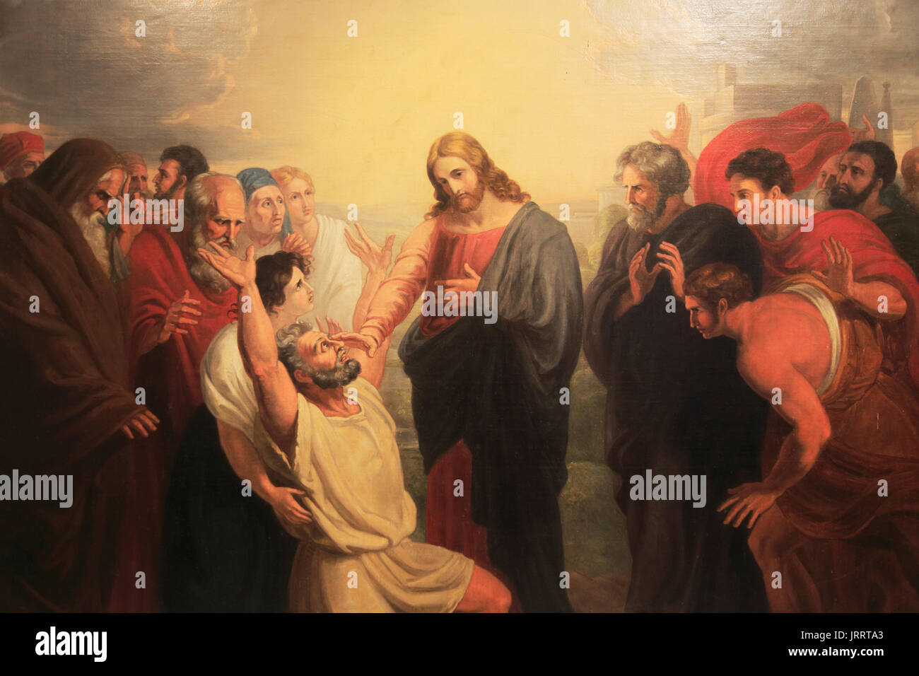 'Christ Healing the Blind Man' painting by Benjamin West 1738-1820, Church of Saint Mary Magdelene, Sternfield, Suffolk, England, UK - Stock Image