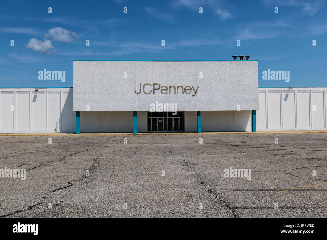 Logansport - Circa August 2017: Recently shuttered J.C. Penney Mall Location. JCPenney is still posting losses, but much more profitable than in 2016  - Stock Image