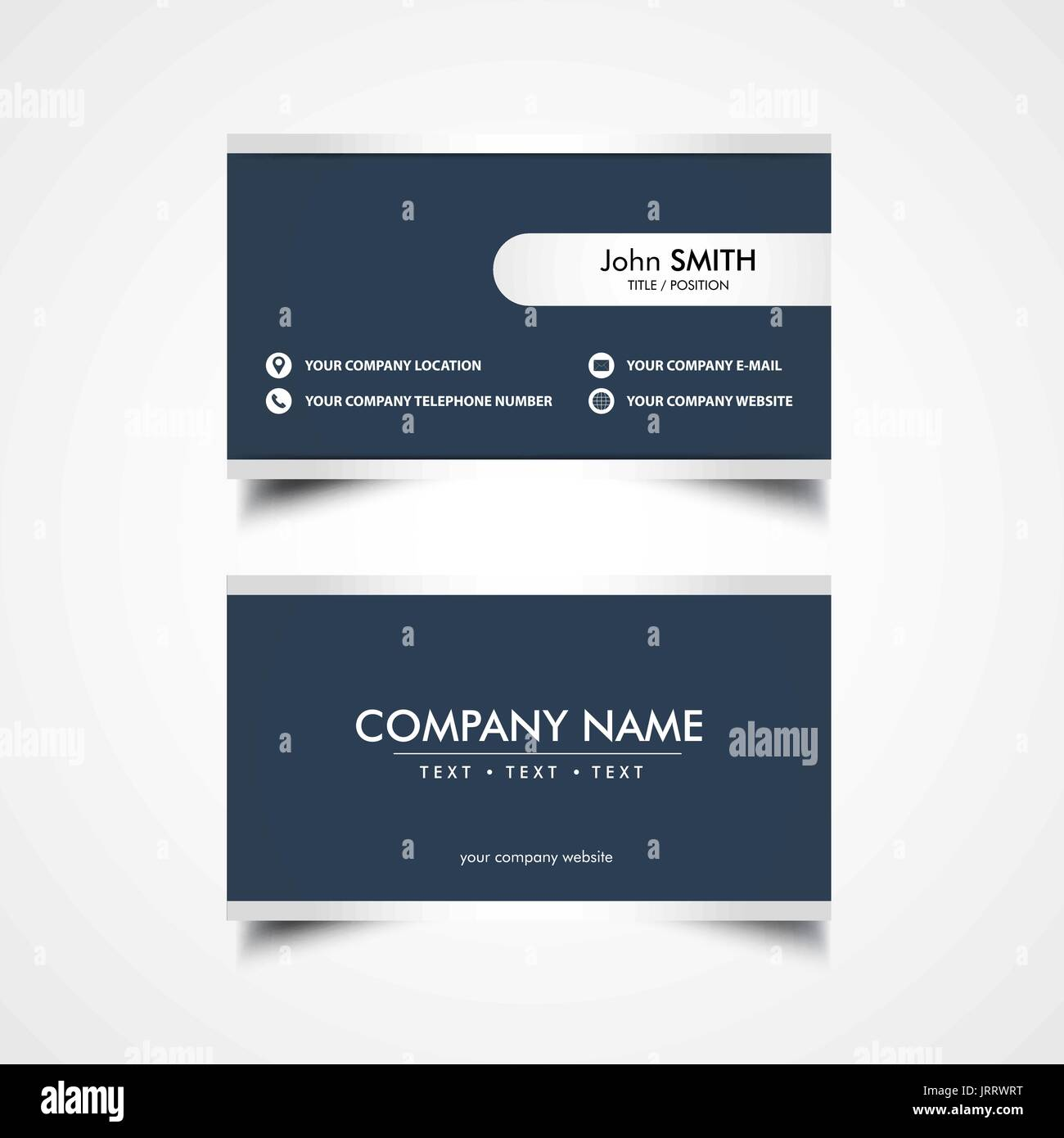 Simple Business Card Template, Vector, Illustration - Stock Image