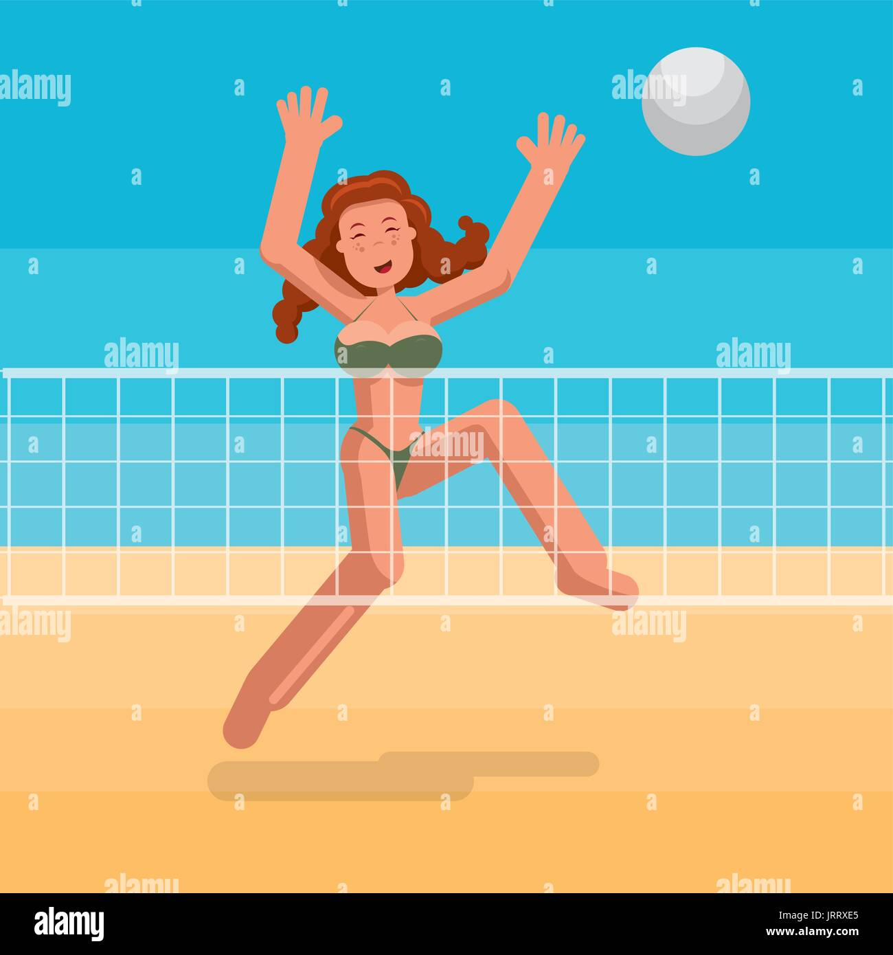 Bikini girl playing beach volley. - Stock Vector
