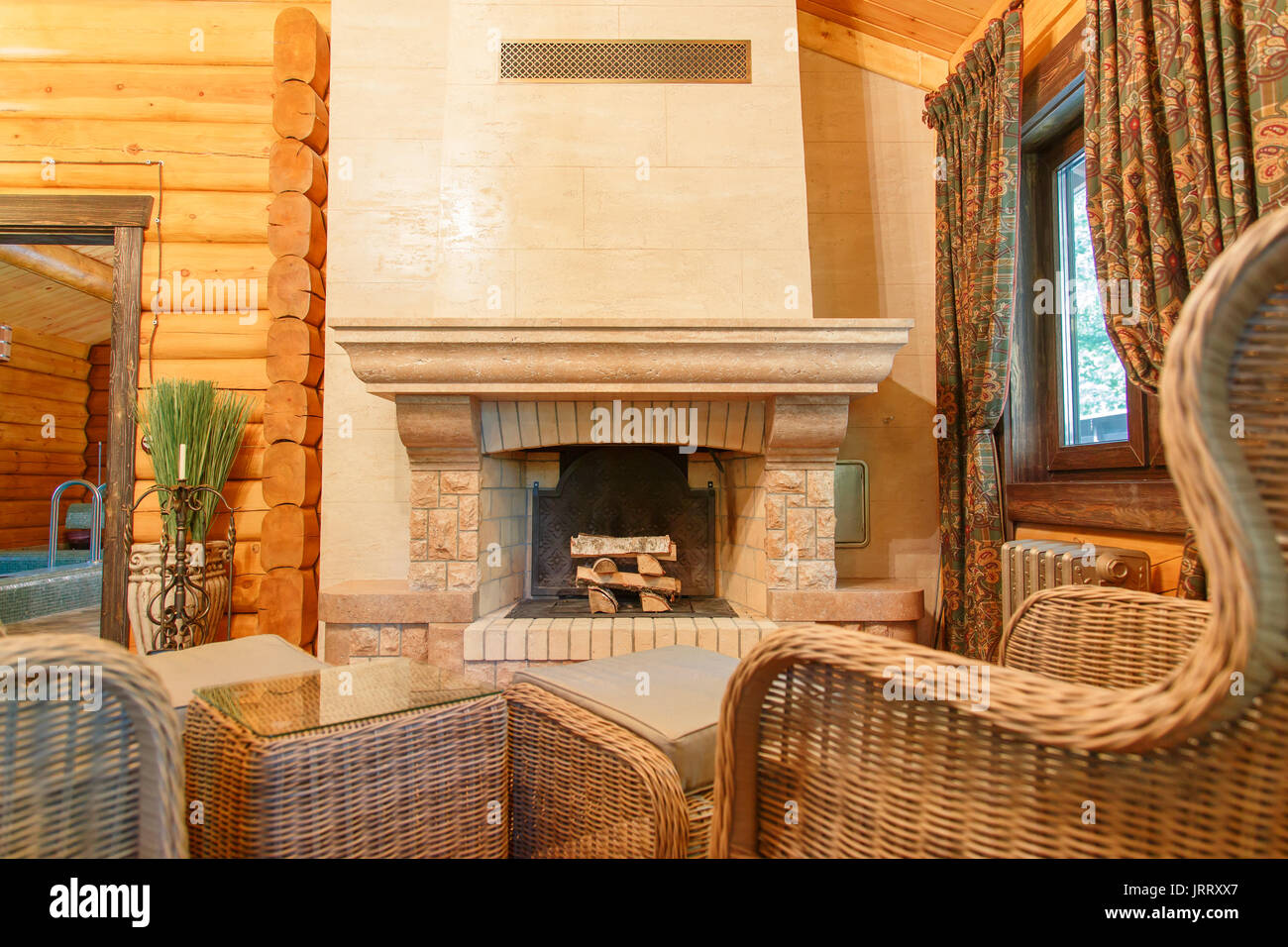 marvellous interior design living room fireplace | Interior design of classic living room with chimney and ...