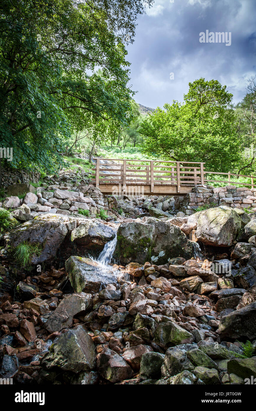 Sourmilk Gill waterfall qt lake Buttermere in the Lake District - Stock Image