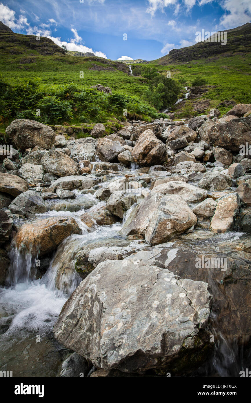 Comb Beck waterfalls at lake Buttermere in the Lake District - Stock Image