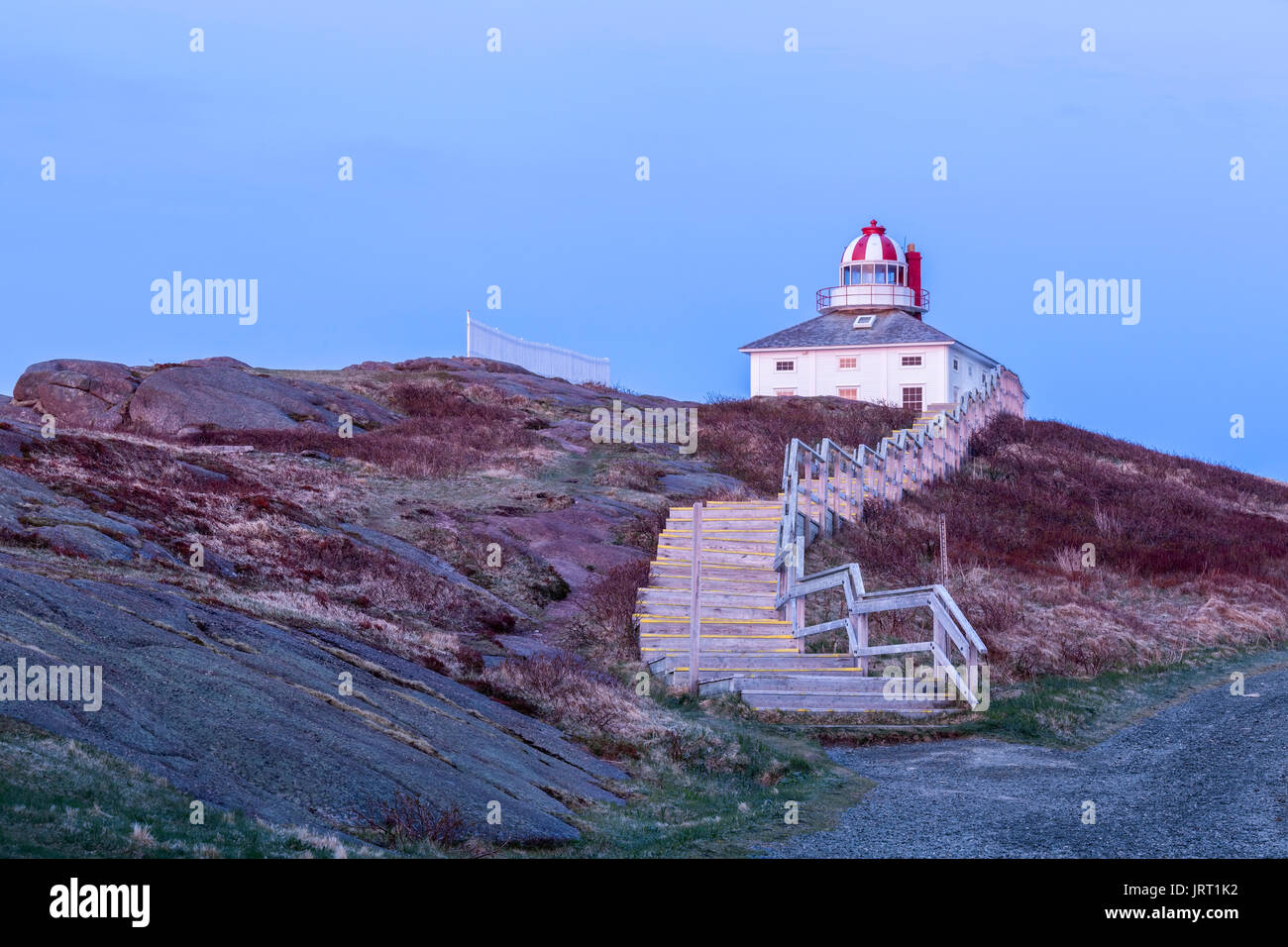 The 1836 Lighthouse at Cape Spear National Historic Site of Canada at dawn. Cape Spear, St. John's, Newfoundland and Labrador, Canada. - Stock Image