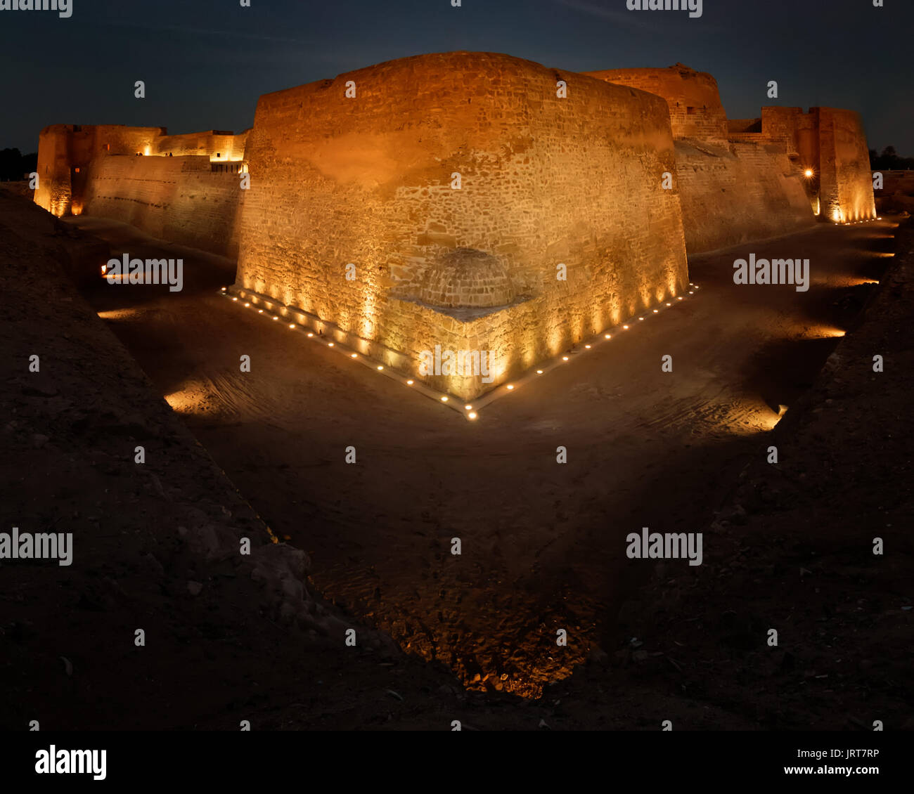 A blue hour/night shot of the old 16th century fort (Qala'at al Bahrain) Stock Photo