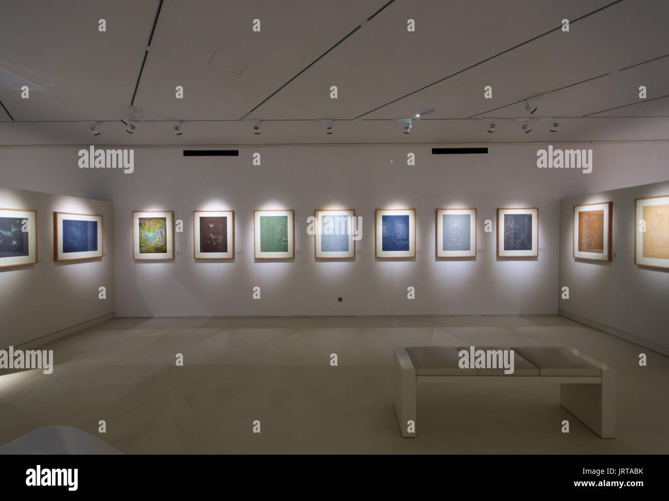 Jean Cocteau Museum, Menton, French Riviera: architect Rudy Ricciotti interior permanent exhibition Séverin Wunderman Collection  1 Inexhibit - Stock Image