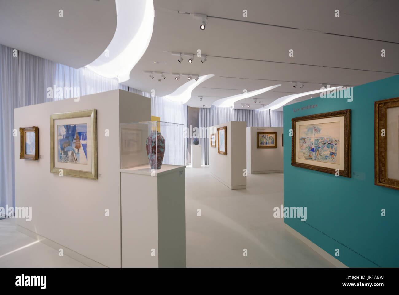 Jean Cocteau Museum, Menton, French Riviera: architect Rudy Ricciotti interior Raoul Dufy art exhibition1 Inexhibit - Stock Image