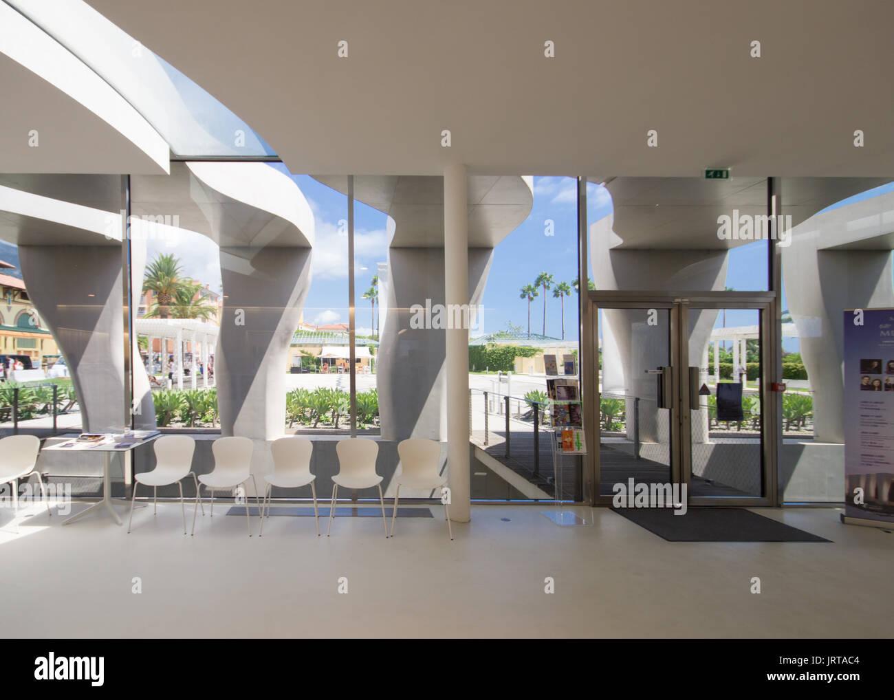Jean Cocteau Museum, Menton, French Riviera: architect Rudy Ricciotti entrance lobby interior 1 Inexhibit - Stock Image