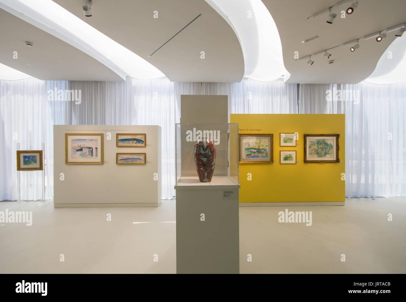 Jean Cocteau Museum, Menton, French Riviera: architect Rudy Ricciotti interior Raoul Dufy exhibition 1 Inexhibit - Stock Image