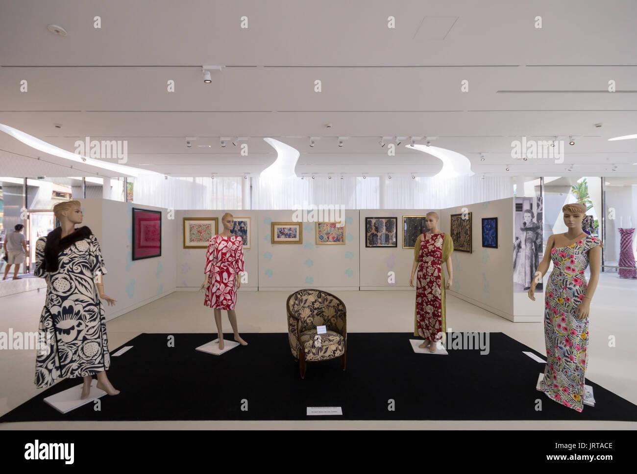 Jean Cocteau Museum, Menton, French Riviera: architect Rudy Ricciotti interior Raoul Dufy fashion exhibition 1 Inexhibit - Stock Image
