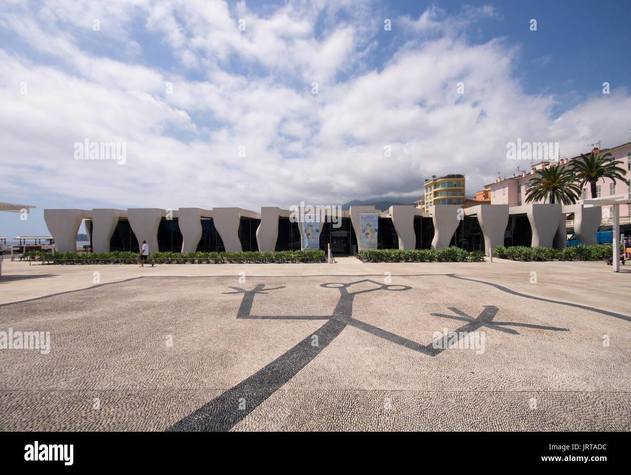 Jean Cocteau Museum, Menton, French Riviera: architect Rudy Ricciotti exterior colonnade detail1 Inexhibit - Stock Image