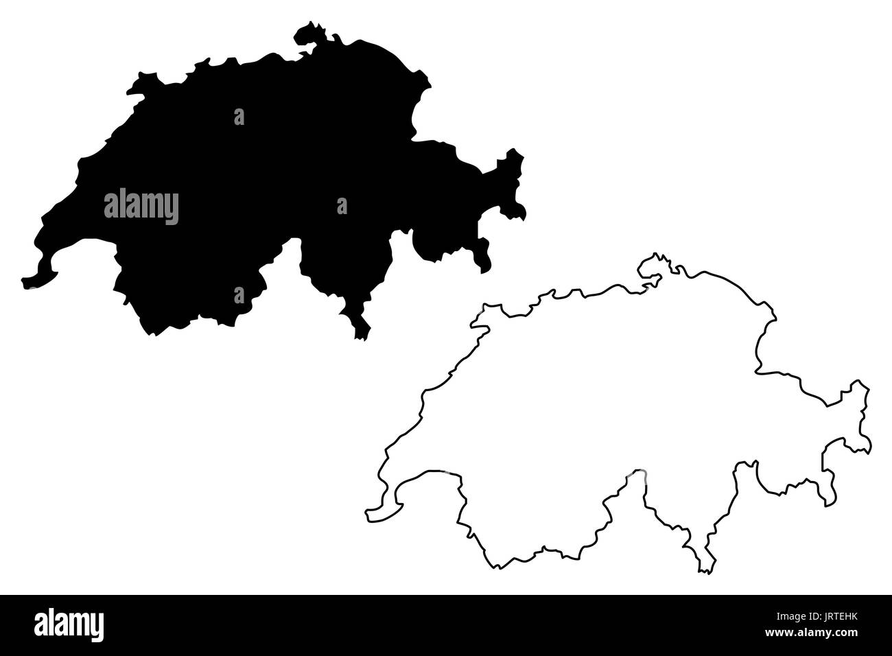 Switzerland map vector illustration, scribble sketch Switzerland - Stock Vector