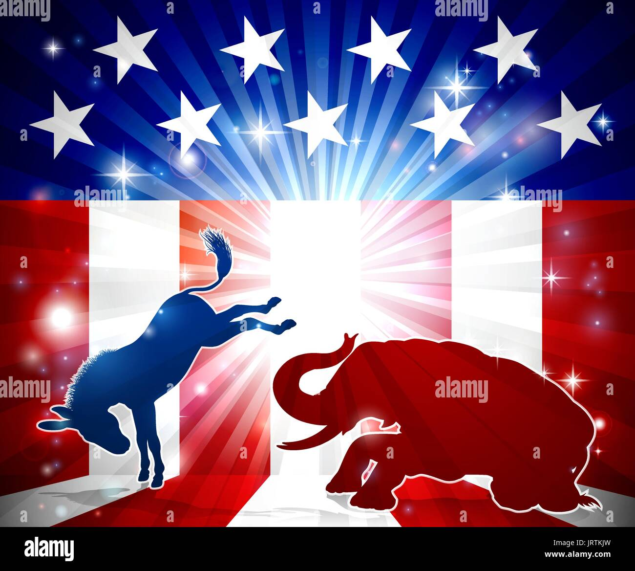 Silhouette Donkey Fighting Elephant  - Stock Image