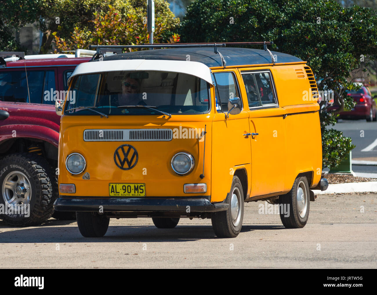Classic VW mini bus seen at Coffs Harbour Marina, New South Wales, Australia. - Stock Image