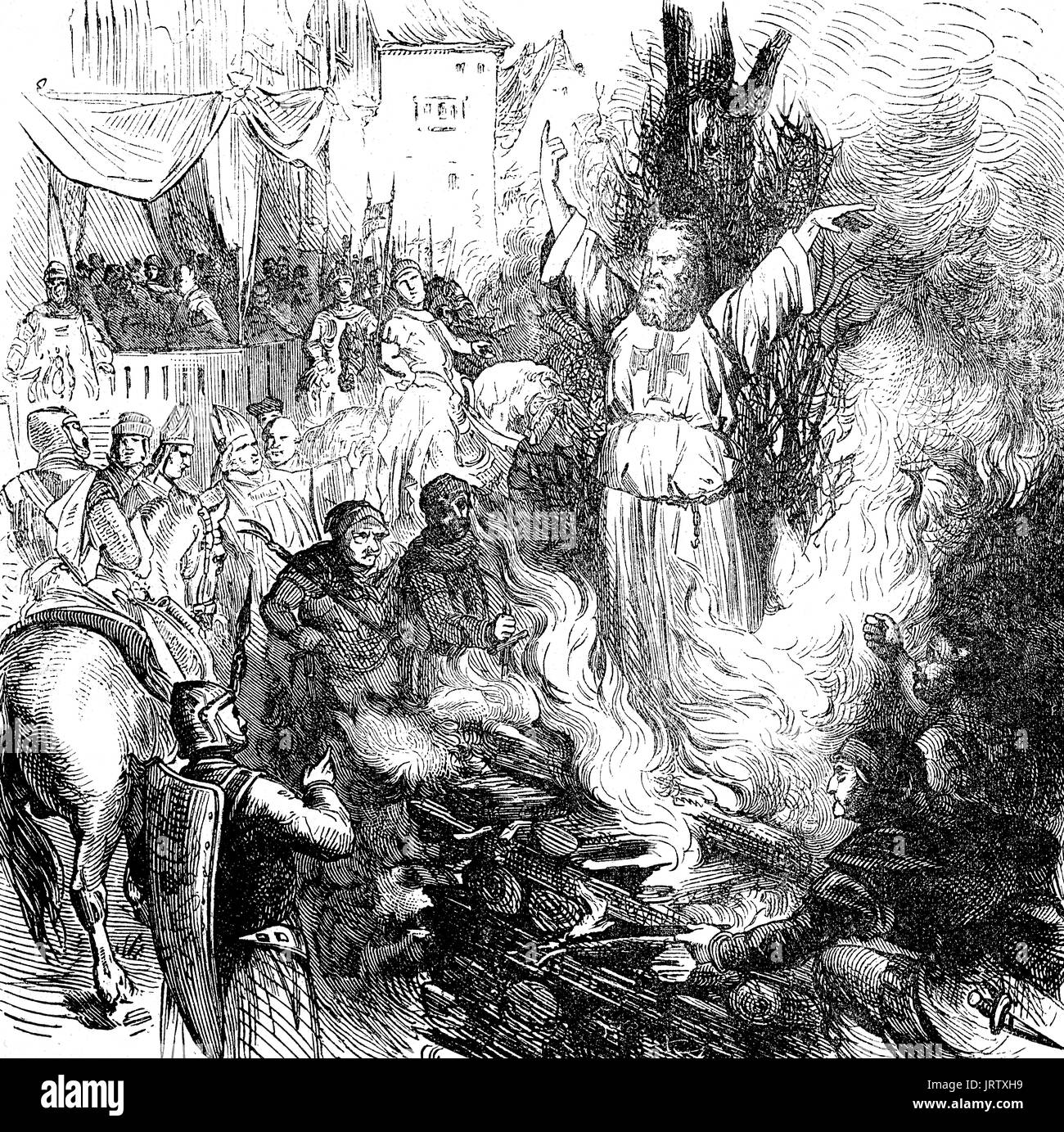 Burning at the stake, Jacques de Molay, c. 1243 - 18 March 1314, was the 23rd and last Grand Master of the Knights Templar - Stock Image