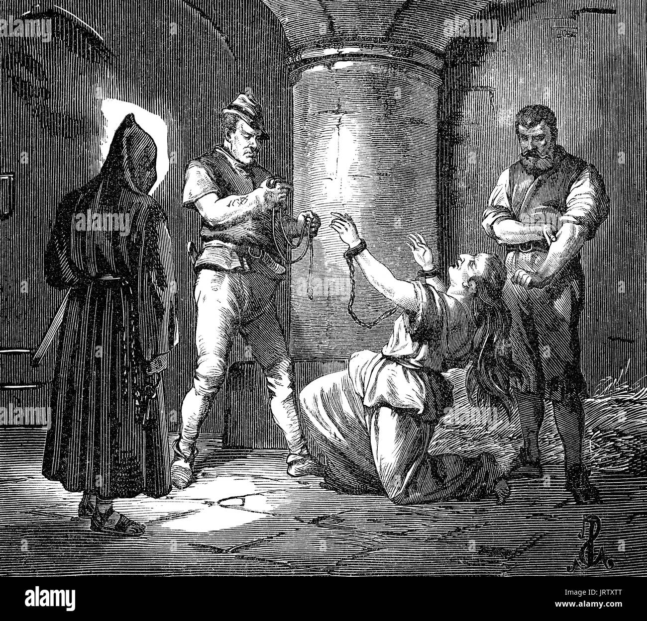 Joanna I strangled at Muro castle by Hungarian soldiers, Queen of Naples, 1328 – 27 July 1382 - Stock Image