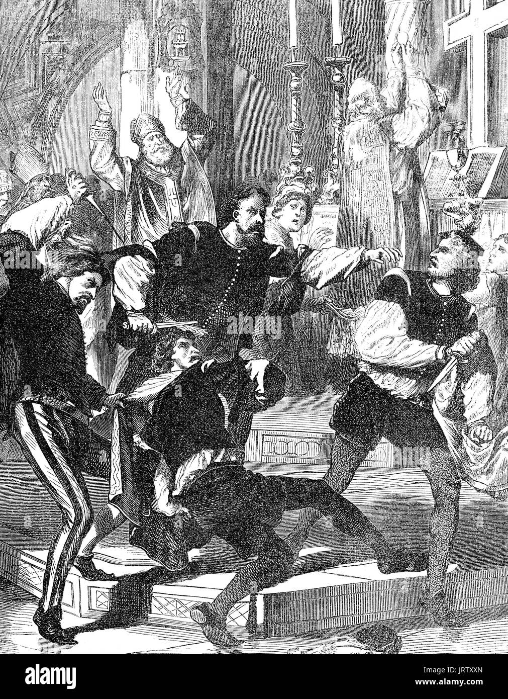 The Pazzi conspiracy, 26 April 1478, an attempt to assassinate Lorenzo de' Medici and his brother Giuliano de' Medici - Stock Image