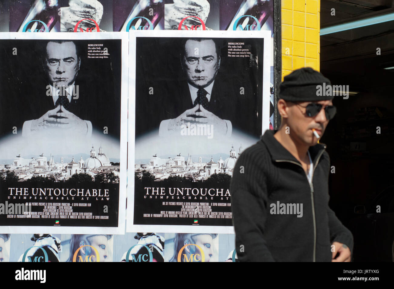 Poster against Berlusconi in Little Italy, Manhattan, New York, USA. - Stock Image