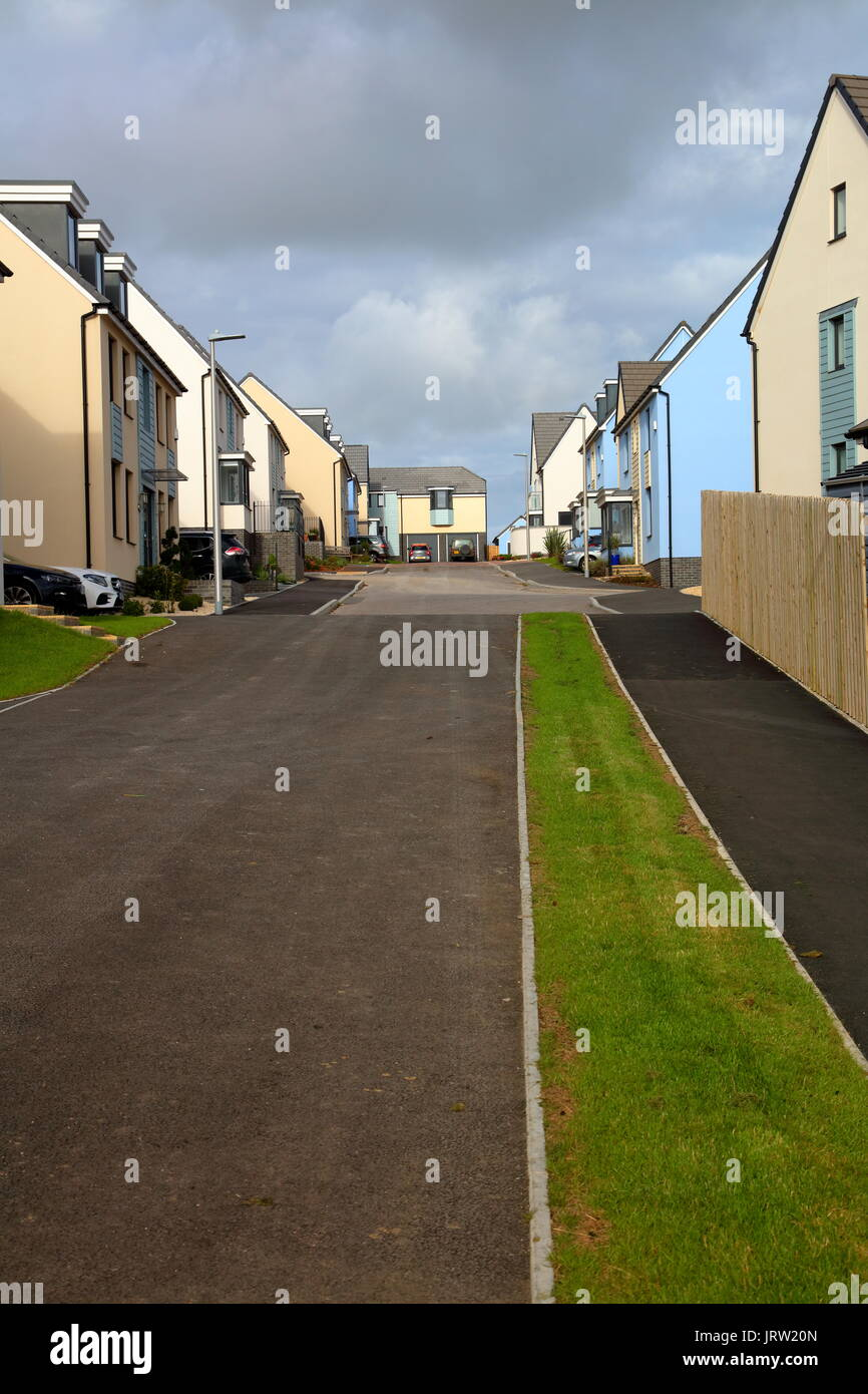 A nice new road full of new houses for sale or sold, these houses are a mere 8 minutes away on foot from the beaches of Ogmore by sea. Stock Photo