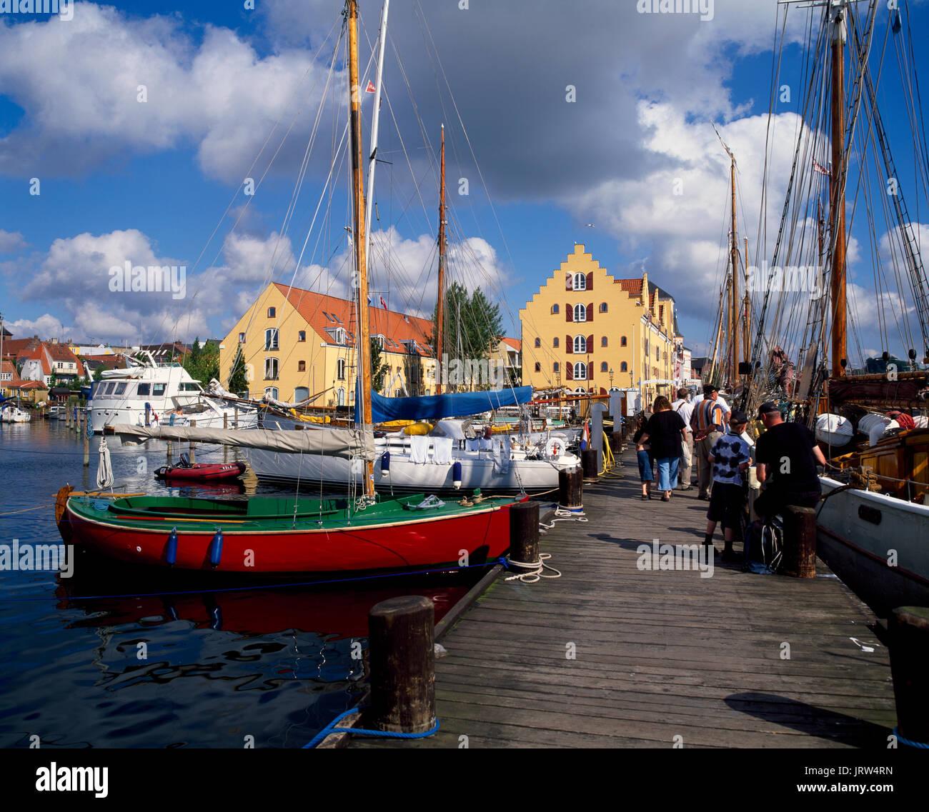 Sailing ships at Svendborg harbour, funen, Denmark, Scandinavia, Europe - Stock Image
