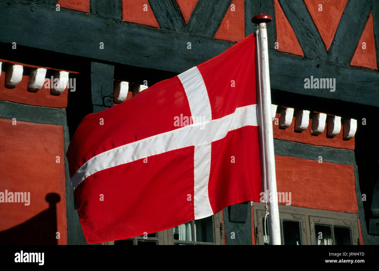 Dannebrog flag in Kerteminde, Fyn, Denmark, Scandinavia, Europe Stock Photo