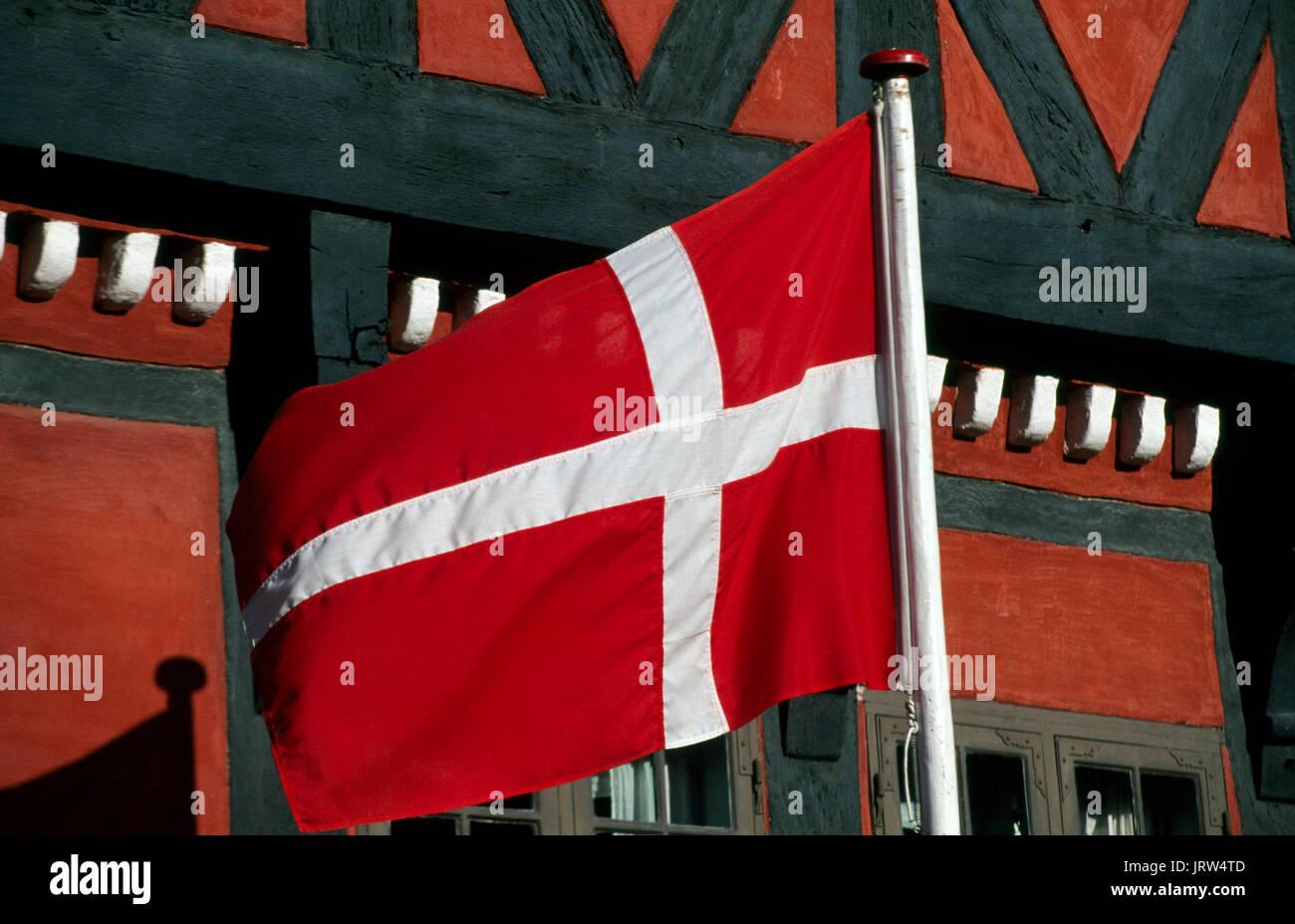 Dannebrog flag in Kerteminde, Fyn, Denmark, Scandinavia, Europe - Stock Image